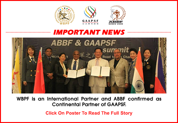 WBPF is an International Partner and ABBF confirmed as Continental Partner of GAAPSF....